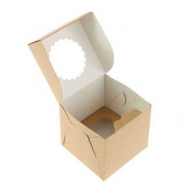 Коробка для 1 капкейка крафт с окном