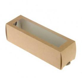 Коробка для макарун 18*5,5*5,5 см крафт с окном