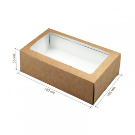 Коробка для макарун 18*11*5,5 см крафт с окном